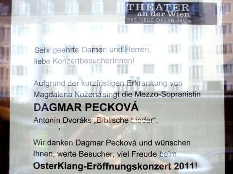 Intendantura Theater an der Wien oznamuje záskok Dagmar Peckové za Magdalénu Koženou, foto Boris Klepal