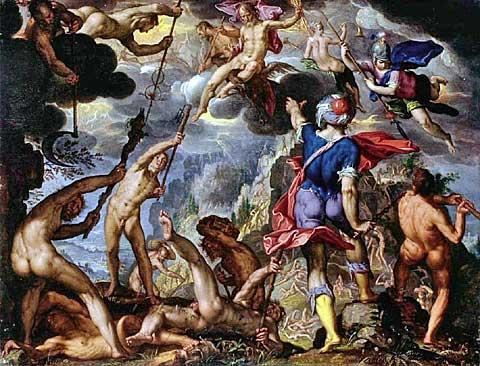 Bitva bohů stitány, Joachim Wtewael, kolem roku 1600