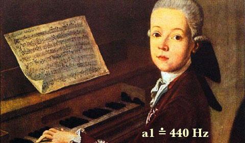Mozart, a1je přibližně 440Hz