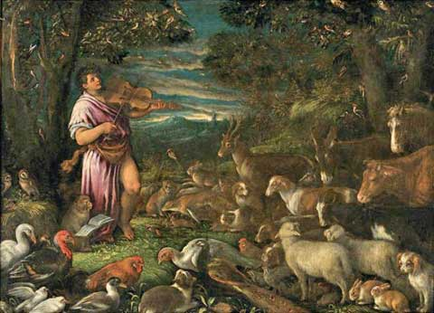 Orfeus aokouzlená zvířata, Francesco Bassano (1549–1592)