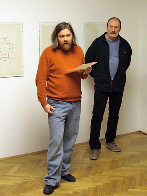 Pavel Rudolf (vpravo), Jiří Zahrádka, zahájení výstavy, foto Boris Klepal