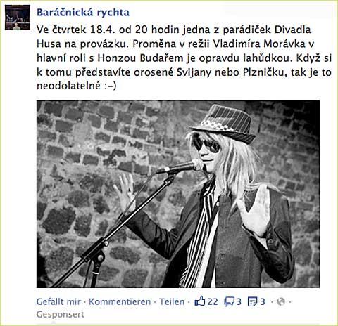 Baráčnická rychta aProměna na Facebooku, screenshot