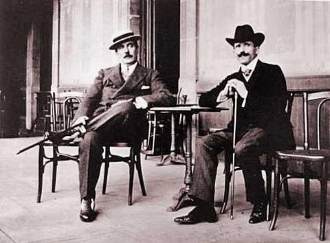 Vpravo Arturo Toscanini, vlevo Giacomo Puccini, 1910, foto archiv