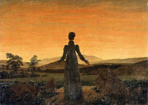 Žena před vycházejícím/zapadajícím sluncem. Caspar David Friedrich, 1818–1820