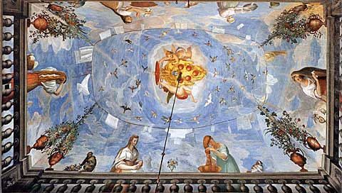 Žena na terase, Alessandro Allori, 1589, freska, Palazzo Pitti, Florencie
