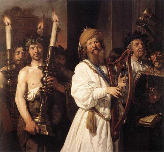David hraje na harfu, Jan de Bray, 1670
