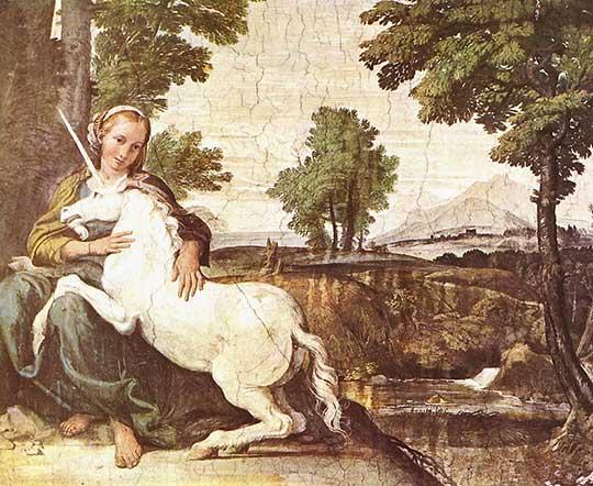 Dívka a jednorožec, Domenichino, 1602