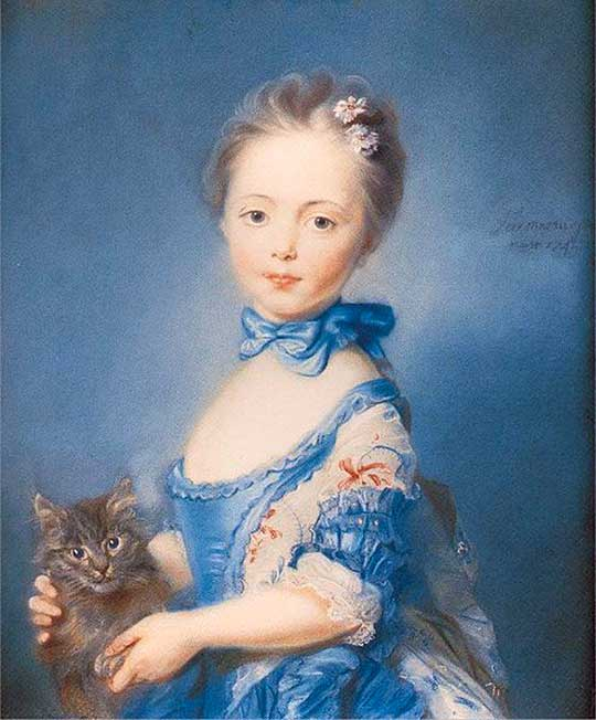 Dívka skotětem, Jean Baptiste Perronneau, 1745