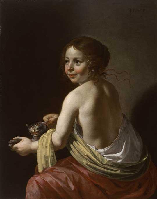 Dívka škádlící kočku, Jan van Bijlert, 1630