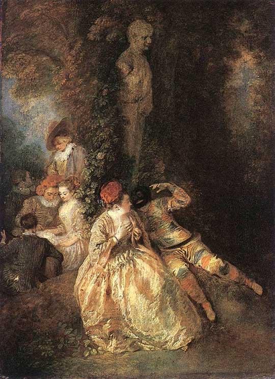 Harlekýn akolombína, Jean-Antoine Watteau, 1716–18