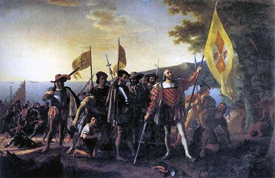 Kolumbus přistává u Guanahani, John Vanderlyn, 1837–47