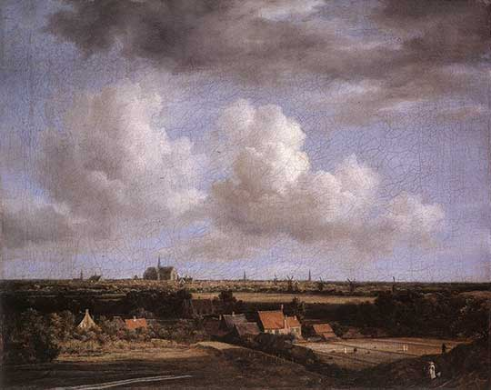 Krajina s výhledem na Haarlem, Jacob Isaackszon van Ruisdael, 1670–75