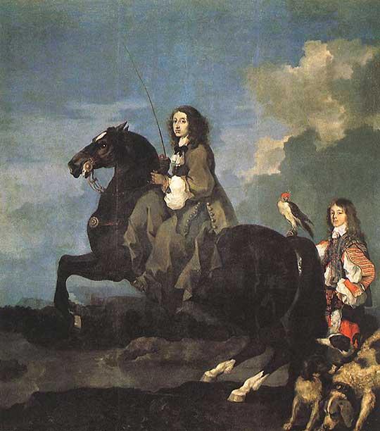 Královna Kristýna na koni, Sébastien Bourdon, 1653