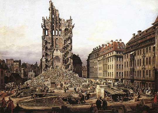 Ruina Kreuzkirche v Drážďanech, Bernardo Bellotto, 1765