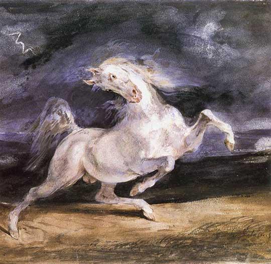 Kůň vyděšený bouřkou, Eugène Delacroix, 1824