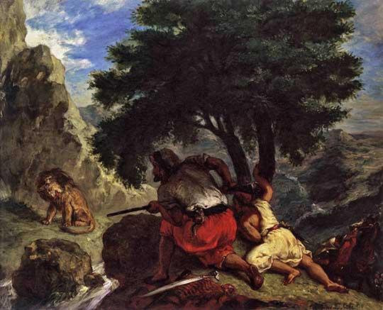 Lov na lva v Maroku, Eugène Delacroix, 1854