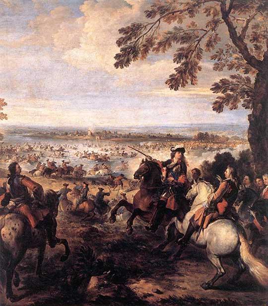 Armáda Ludvíka XIV. překračuje Rýn. Joseph Parrocel, 1699