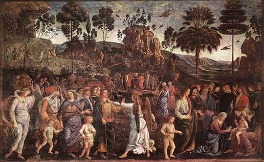 Mojžíšova cesta do Egypta aobřízka jeho syna, Pietro Perugino, 1482