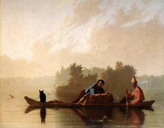 Ochodníci skožešinami na Missouri, George Caleb Bingham, 1845