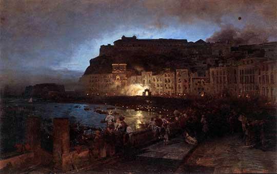 Ohňostroj v Neapoli, Oswald Achenbach, 1875