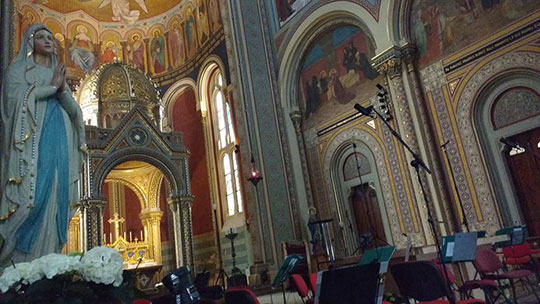Kostel sv. Cyrila a Metoděje před koncertem, foto archiv Orchestru Berg