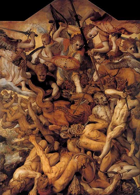 Pád vzbouřených andělů, Frans Floris, 1554