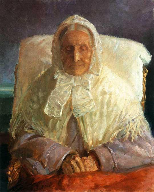 Paní Ane Brøndum (portrét autorčiny matky), Anna Kirstine Ancher, 1913