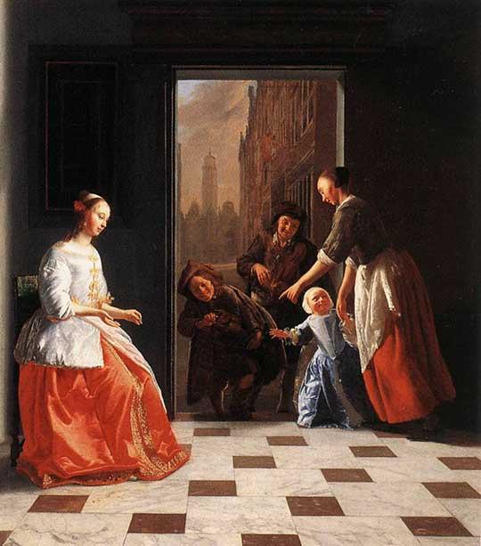 Pouliční muzikanti ve dveřích domu, Jacob Ochtervelt, 1665
