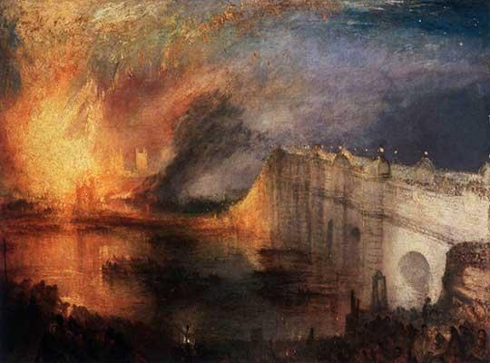 Požár Sněmovny lordů aDolní sněmovny, Joseph Mallord William Turner, 1834