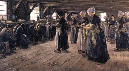Přádelna lnu vLarenu, Max Liebermann, 1887
