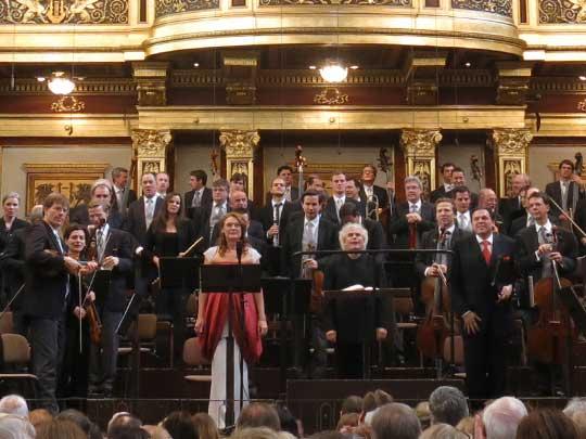 Magdalena Kožená, Simon Rattle, Michael Schade ačást Vídeňských filharmoniků, foto Boris Klepal