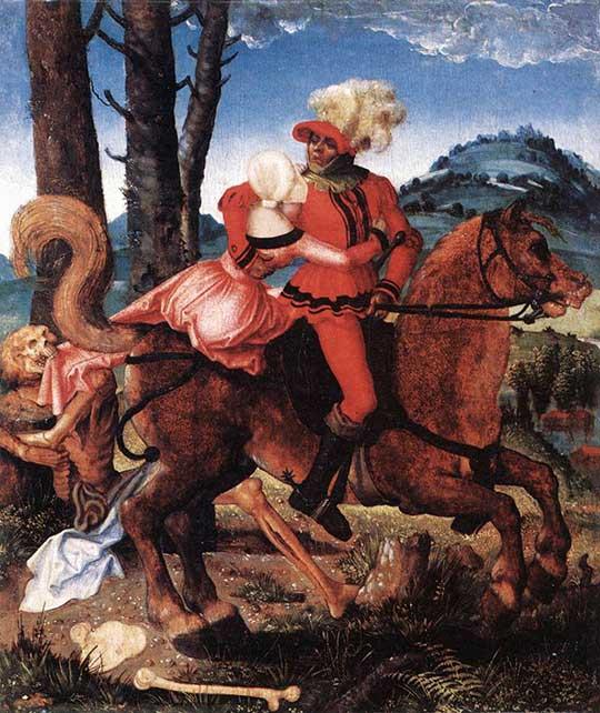 Rytíř, mladá dívka a smrt. Hans Baldung Grien, 1505