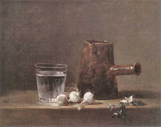 Sklenice vody adžbán, Jean-Baptiste-Siméon Chardin, 1760