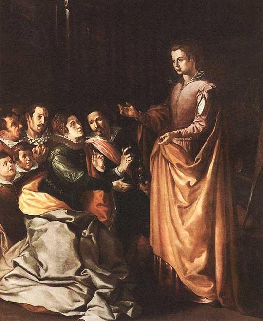 Svatá Kateřina se zjevuje vězňům. Francisco de Herrera starší, 1629