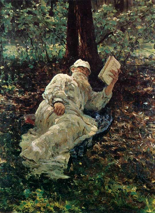 Tolstoj odpočívající vlese, Ilja Repin, 1891