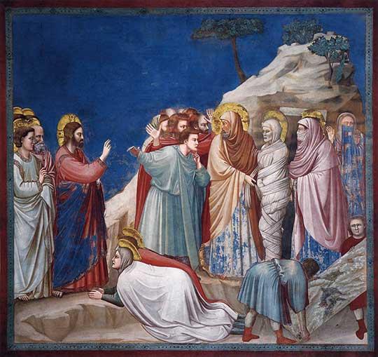 Vzkříšení Lazara, Giotto di Bondone, 1304–6