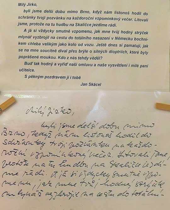 Dopis Jana Skácela Jiřímu Benešovi