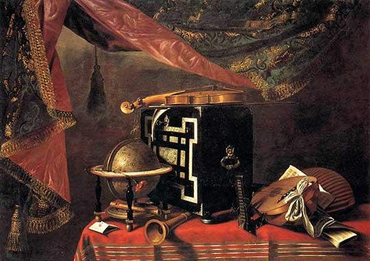 Zátiší snástroji, Evaristo Baschenis, 1667–77