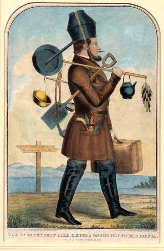 Zlatokop na cestě do Kalifornie, karikatura z roku 1850